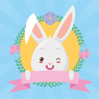 Caricature de visage de lapin mignon avec ruban