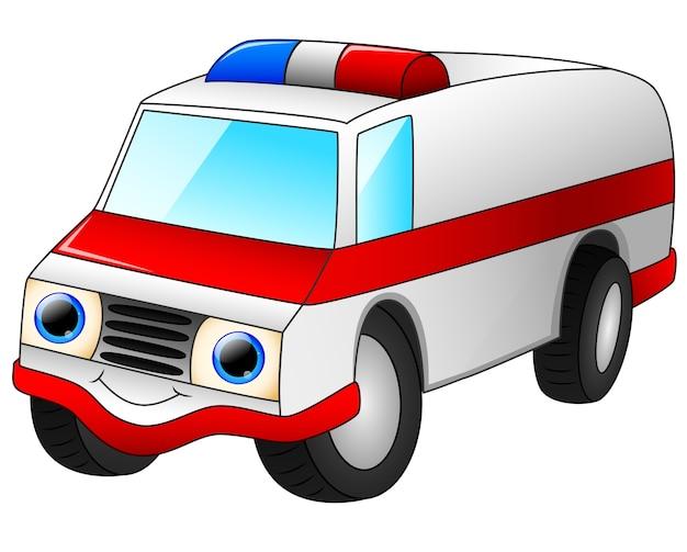 Caricature de voiture ambulance isolé sur fond blanc