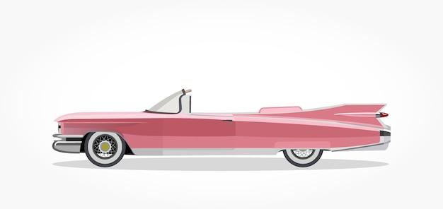 Caricature de voiture décapotable classique rose avec effet de côté et ombre détaillée