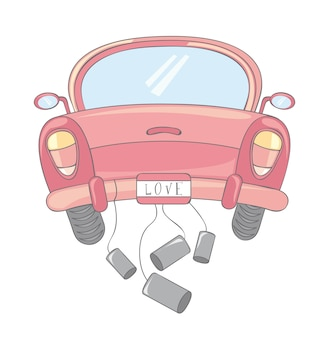 Caricature de voiture rose sur illustration vectorielle fond blanc