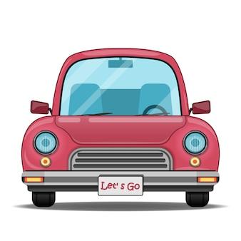 Caricature de voiture rouge