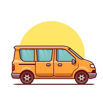 Caricature de voiture de van. transport de véhicule isolé