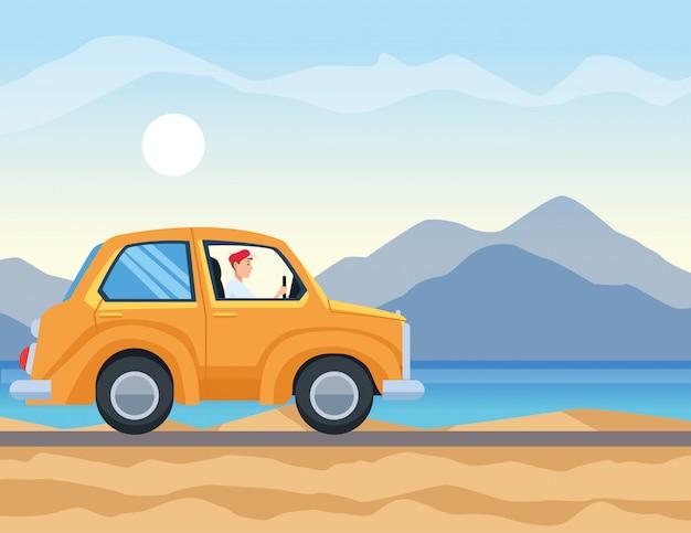 Caricature et voyage en voiture