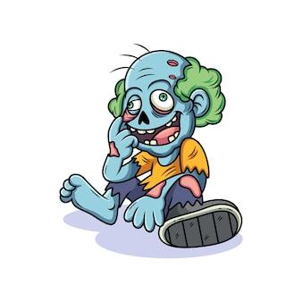 Caricature de zombie avec une pose mignonne