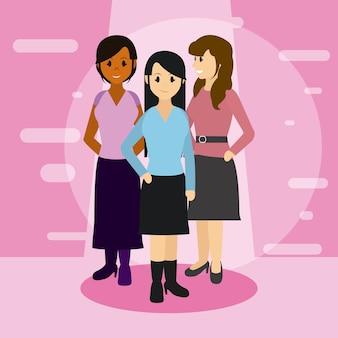 Caricatures d'amis de jeunes femmes