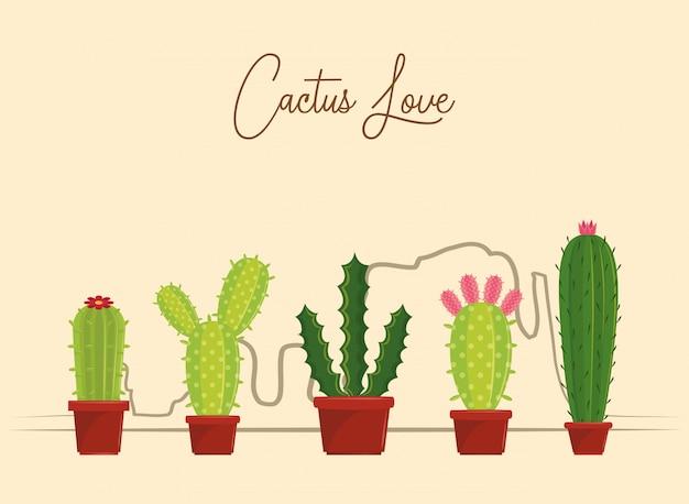 Caricatures d'amour de cactus
