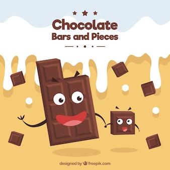 Caricatures au chocolat avec du lait