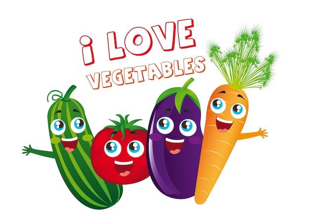 Caricatures de carottes au concombre et tomates