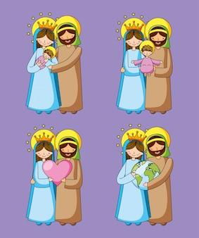Caricatures chrétiennes de la sainte famille