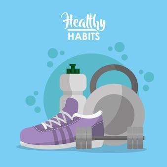 Caricatures de concept d'habitudes saines