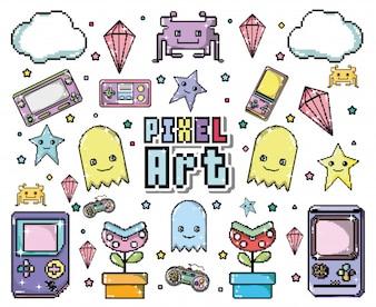 Caricatures de jeu vidéo Pixel art