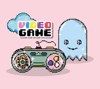 Caricatures de jeux vidéo de pixel de pixel