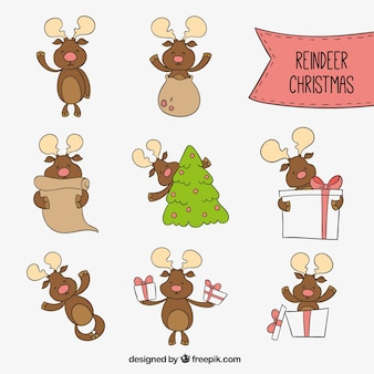 Caricatures de rennes de Noël