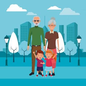 Caricatures de grands-parents et petits-enfants