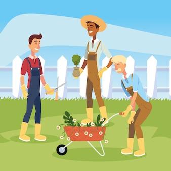 Caricatures d'hommes de jardinier avec conception de brouette de fleurs, plantation de jardin de jardinage et nature