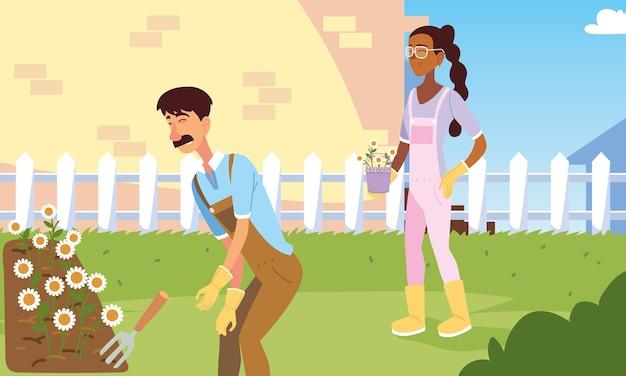 Caricatures de jardinier femme et homme avec fleurs et conception de râteau, plantation de jardin de jardinage et nature