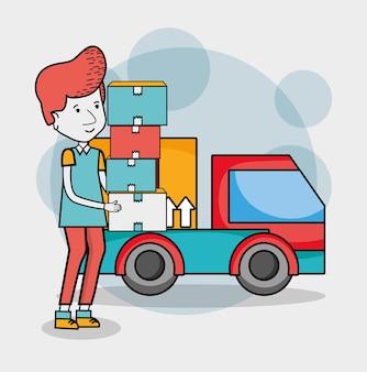 Caricatures de livraison et de courrier