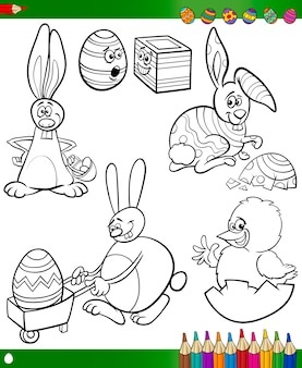 Caricatures de pâques pour cahier de coloriage