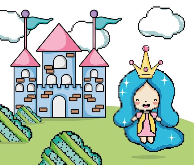 Caricatures de paysages imaginaires de jeux vidéo pixélisés