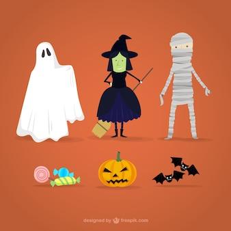 Caricatures de personnages d'halloween