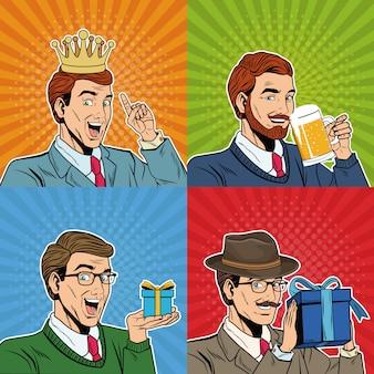 Caricatures pop art d'affaires