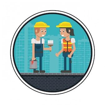 Caricatures des travailleurs de la construction