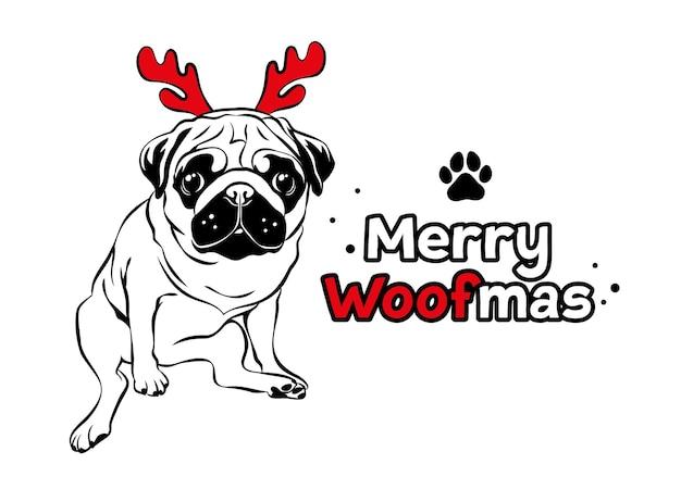 Carlin mignon avec bois de renne rouge texte joyeux woofmas