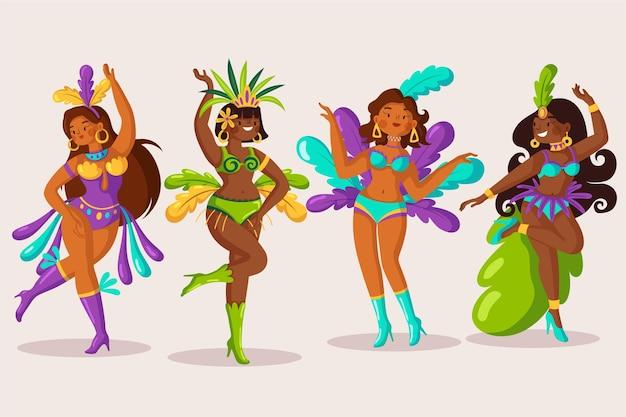 Carnaval brésilien de la collection de danseurs illustrés