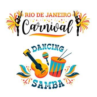 Carnaval brésilien. ensemble d'emblèmes