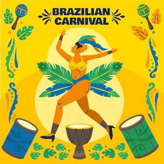 Carnaval brésilien illustration danseuse