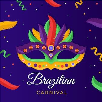 Carnaval brésilien plat avec masque coloré
