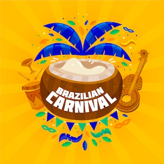 Carnaval brésilien plat avec noix de coco et ukulélé