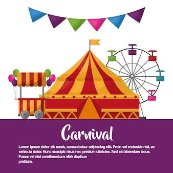 Carnaval cirque tente stand ballons grande roue loisirs amusement