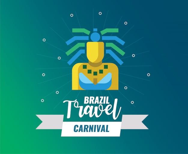 Carnaval du brésil et logo de voyage