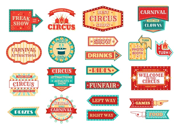Carnaval ou fête foraine flèche enseigne icônes isolées