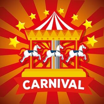 Carnaval joyeux rond et étoiles avec décoration de ruban