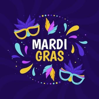 Carnaval de mardi gras design plat