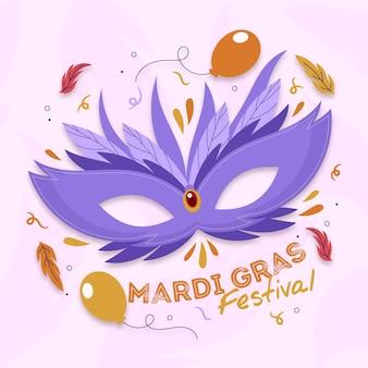 Carnaval de mardi gras dessiné à la main
