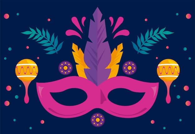 Carnaval de mardi gras avec masque et maracas