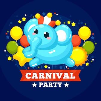 Carnaval plat avec des ballons