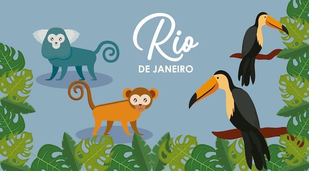 Carnaval rio janeiro carte avec animaux exotiques