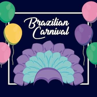 Carnaval rio janeiro carte avec chapeau de plumes
