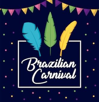 Carnaval rio janeiro carte avec plumes