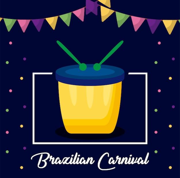 Carnaval rio janeiro carte avec tambour