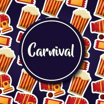Carnaval rond étiquette pop corn circus canon