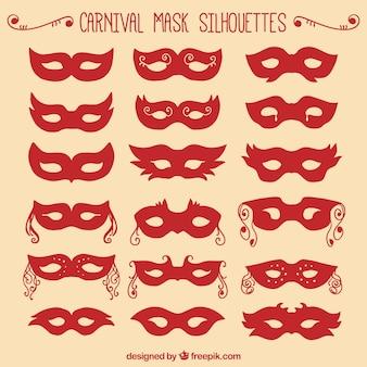 Carnaval rouge silhouettes de masque