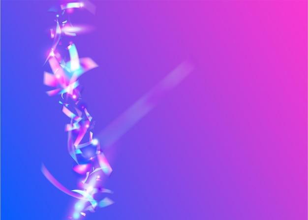 Le carnaval scintille. feuille surréaliste. confettis kaléidoscope. décoration prismatique de fête. art fantastique. texture en métal bleu. tinsel d'anniversaire. élément rétro. violet carnaval sparkles