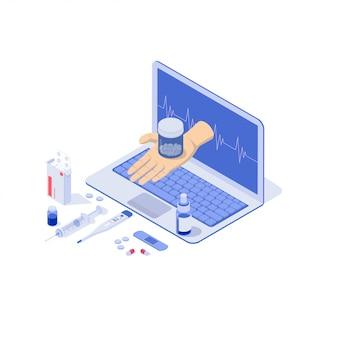 Carnet en ligne avec pilules, capsules blisters, bouteilles en verre, tubes en plastique.
