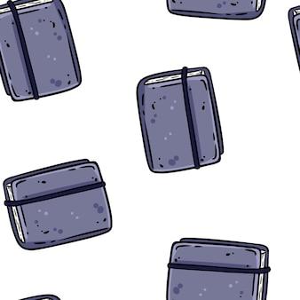 Carnets de dessin animé mignon doodles motif de bordure transparente. tuile de texture de fond répétable de vecteur. modèle d'artisanat confortable d'illustration stock pour la conception d'emballage, papier peint