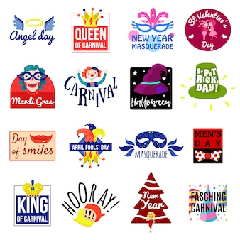 Carnival emblem label logo set